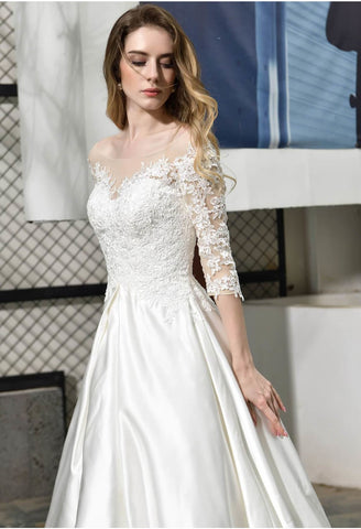 Image of Modern Bride Dresses Glamorous Embroidery Lace Satin A-Line - 4