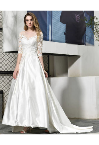 Image of Modern Bride Dresses Glamorous Embroidery Lace Satin A-Line - 5