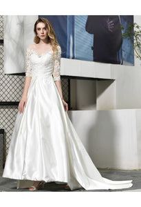 Modern Bride Dresses Glamorous Embroidery Lace Satin A-Line - 5