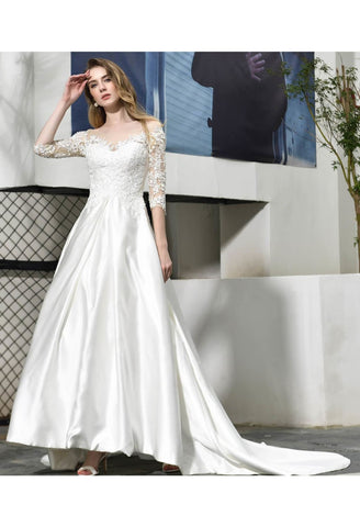 Image of Modern Bride Dresses Glamorous Embroidery Lace Satin A-Line - 2