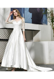 Modern Bride Dresses Glamorous Embroidery Lace Satin A-Line - 2