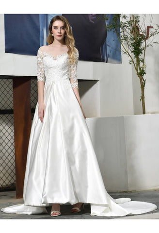 Image of Modern Bride Dresses Glamorous Embroidery Lace Satin A-Line - 1