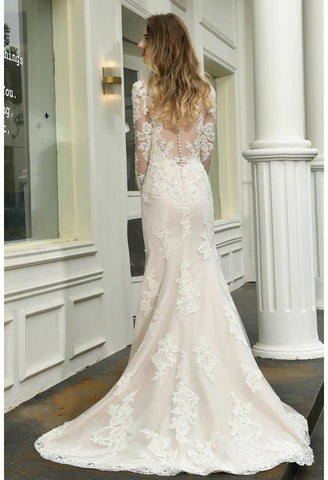Image of Modern Bride Dresses Glamorous Embroidery Lace Slit Mermaid - 3