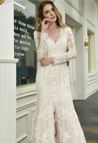 Image of Modern Bride Dresses Glamorous Embroidery Lace Slit Mermaid - 4