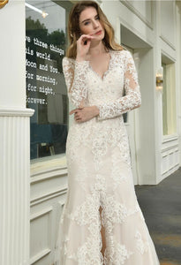 Modern Bride Dresses Glamorous Embroidery Lace Slit Mermaid - 4