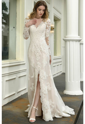 Image of Modern Bride Dresses Glamorous Embroidery Lace Slit Mermaid - 5