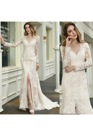 Image of Modern Bride Dresses Glamorous Embroidery Lace Slit Mermaid - 6
