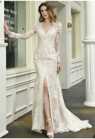 Image of Modern Bride Dresses Glamorous Embroidery Lace Slit Mermaid - 1