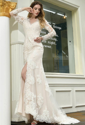 Image of Modern Bride Dresses Glamorous Embroidery Lace Slit Mermaid - 2