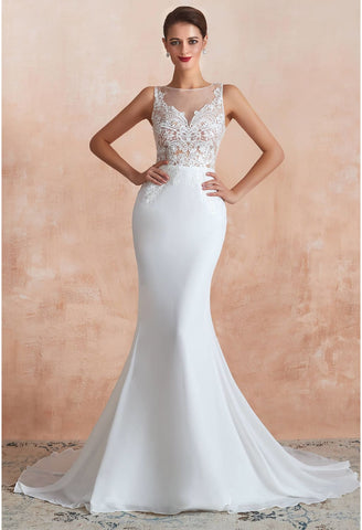 Image of Modern Bride Dresses Sleeveless Lace Tailing Mermaid - 8