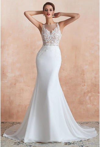 Image of Modern Bride Dresses Sleeveless Lace Tailing Mermaid - 1