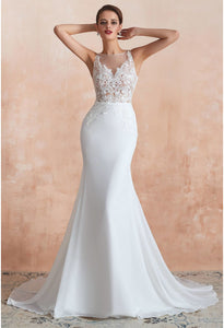 Modern Bride Dresses Sleeveless Lace Tailing Mermaid - 1