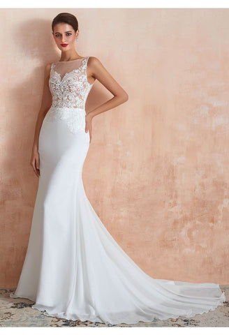 Image of Modern Bride Dresses Sleeveless Lace Tailing Mermaid - 6
