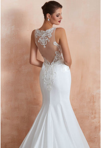 Image of Modern Bride Dresses Sleeveless Lace Tailing Mermaid - 5