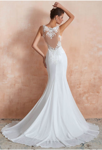 Image of Modern Bride Dresses Sleeveless Lace Tailing Mermaid - 7