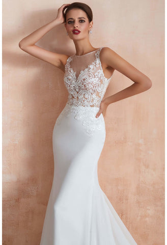 Image of Modern Bride Dresses Sleeveless Lace Tailing Mermaid - 9