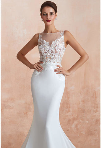 Image of Modern Bride Dresses Sleeveless Lace Tailing Mermaid - 10