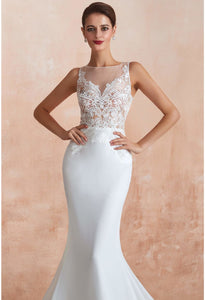 Modern Bride Dresses Sleeveless Lace Tailing Mermaid - 10