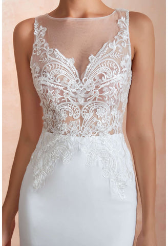 Image of Modern Bride Dresses Sleeveless Lace Tailing Mermaid - 3