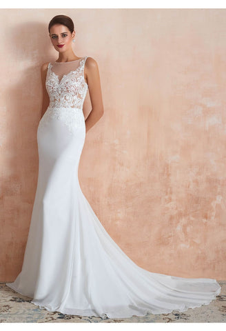 Image of Modern Bride Dresses Sleeveless Lace Tailing Mermaid - 4