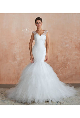 Image of Modern Bride Dresses Sweetheart Neckline Ruffles Mermaid with Tailing - 4
