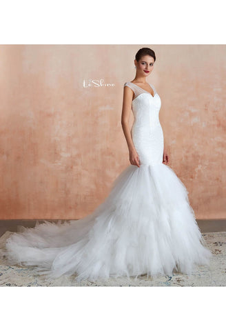 Image of Modern Bride Dresses Sweetheart Neckline Ruffles Mermaid with Tailing - 2