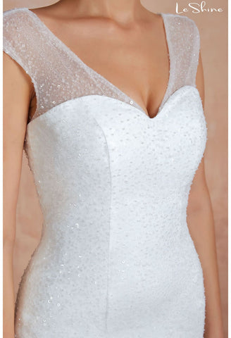 Image of Modern Bride Dresses Sweetheart Neckline Ruffles Mermaid with Tailing - 5