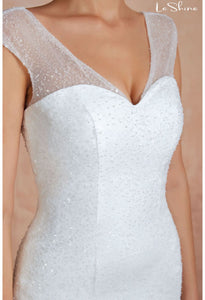 Modern Bride Dresses Sweetheart Neckline Ruffles Mermaid with Tailing - 5