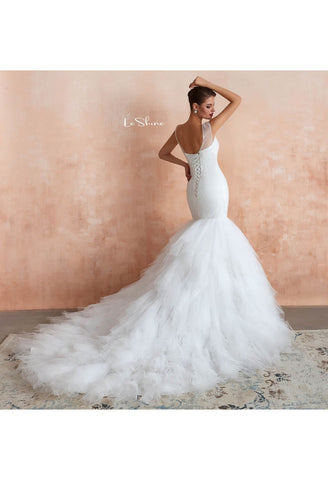 Image of Modern Bride Dresses Sweetheart Neckline Ruffles Mermaid with Tailing - 1