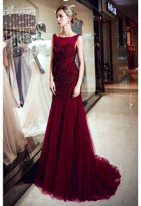 Mother of the Bride Dresses Stunning Sheer Neckline Trumpet - 6