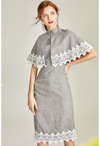 Image of Pencil Dresses with Shawl Junoesque Lace - 1