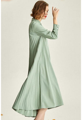 Image of Pleated Midi Dresses Lapel Simplicity - 2