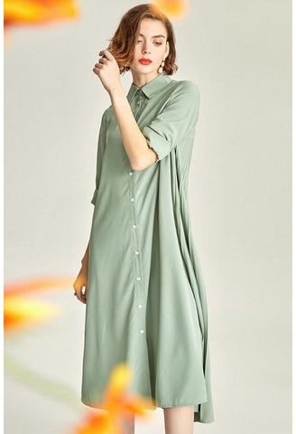 Image of Pleated Midi Dresses Lapel Simplicity - 3