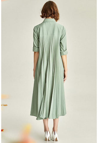 Image of Pleated Midi Dresses Lapel Simplicity - 5