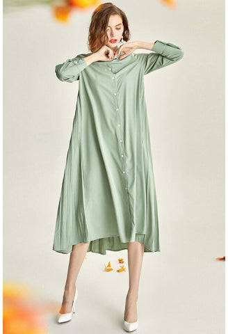 Image of Pleated Midi Dresses Lapel Simplicity - 1