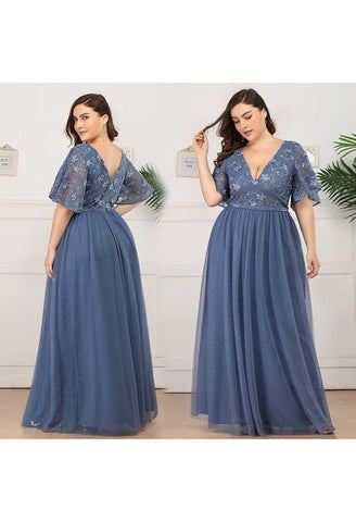 Image of Plus Size Bridesmaid Dresses V-Neck Ruffle Sleeve Embroidery Tulle - 4