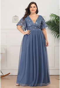 Plus Size Bridesmaid Dresses V-Neck Ruffle Sleeve Embroidery Tulle - 1