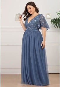 Plus Size Bridesmaid Dresses V-Neck Ruffle Sleeve Embroidery Tulle - 2