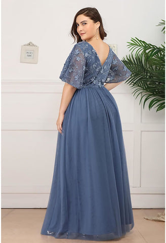 Image of Plus Size Bridesmaid Dresses V-Neck Ruffle Sleeve Embroidery Tulle - 3