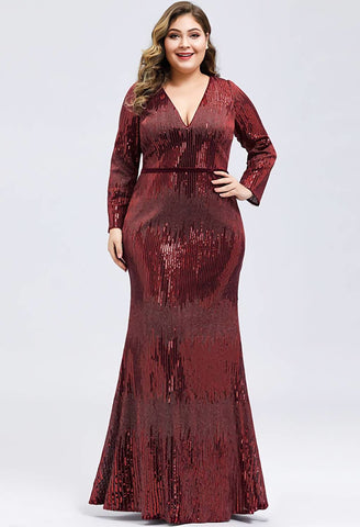 Image of Plus Size Evening Dresses Deep V-Neck Sequins Long Sleeves - 4