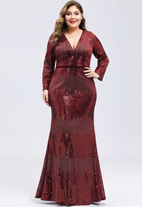 Plus Size Evening Dresses Deep V-Neck Sequins Long Sleeves - 4