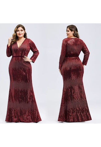 Image of Plus Size Evening Dresses Deep V-Neck Sequins Long Sleeves - 5