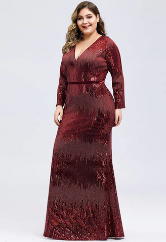 Image of Plus Size Evening Dresses Deep V-Neck Sequins Long Sleeves - 3