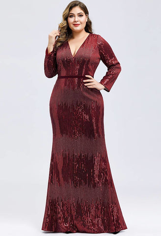 Image of Plus Size Evening Dresses Deep V-Neck Sequins Long Sleeves - 1