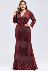 Plus Size Evening Dresses Deep V-Neck Sequins Long Sleeves - 1