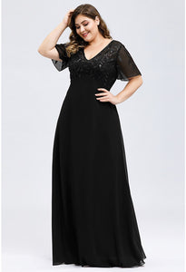 Plus Size Evening Dresses Floral Sequin Print with Cap Sleeve - 4