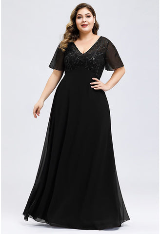 Image of Plus Size Evening Dresses Floral Sequin Print with Cap Sleeve - 3