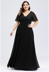 Plus Size Evening Dresses Floral Sequin Print with Cap Sleeve - 3