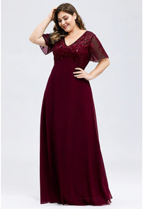 Plus Size Evening Dresses Floral Sequin Print with Cap Sleeve - 9