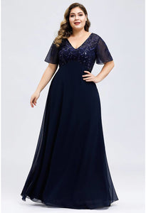 Plus Size Evening Dresses Floral Sequin Print with Cap Sleeve - 13